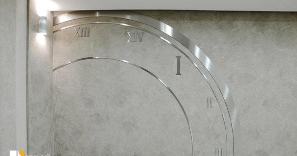 ЖК Тайм - оформление лифтовых холлов стилизованными циферблатами