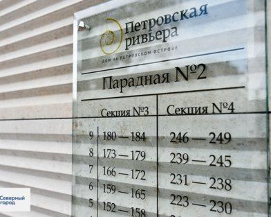 ЖК Петровская ривьера - подъездный указатель из стекла